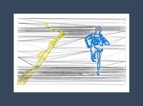 Running art print of a male runner with the yellow line of the road.